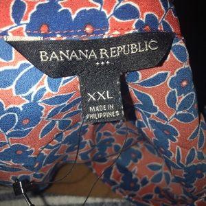 Banana Republic Print Drapey Vee Neck Tunic